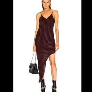 NWT Amiri Asymmetrical Silk Dot Black Red Dress